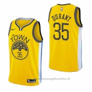 Maglia Golden State Warriors Kevin Durant NO 35 Earned 2018-19 Giallo