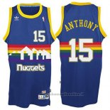 Maglia Denver Nuggets Carmelo Anthony NO 15 Throwback Blu