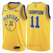 Maglia Golden State Warriors Klay Thompson NO 11 Hardwood Classic 2018 Giallo