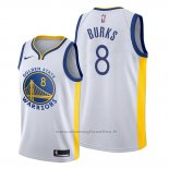 Maglia Golden State Warriors Alec Burks NO 8 Association Bianco