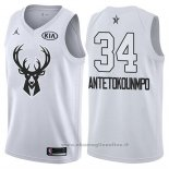 Maglia All Star 2018 Milwaukee Bucks Giannis Antetokounmpo NO 34 Bianco