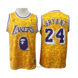 Maglia Los Angeles Lakers Kobe Bryant NO 24 Bryant Mitchell & Ness Giallo