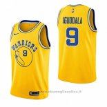 Maglia Golden State Warriors Andre Iguodala NO 9 Hardwood Classic 2018-19 Giallo