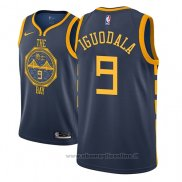 Maglia Golden State Warriors Andre Iguodala NO 9 Citta 2018-19 Blu