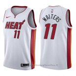 Maglia Miami Heat Dion Waiters NO 11 Association 2017-18 Bianco