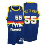 Maglia Denver Nuggets Dikembe Mutombo NO 55 Throwback Blu